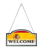 Spain welcomes you! Old metal sign isolated