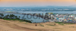 Jeju Island South Korea, Panorama city skyline of Seogwipo city view from Seongsan Ilchulbong