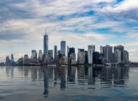 Panorama of Manhattan with calm artificial water
