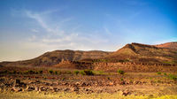 Panorama with Adrar mountain near Terjit, rocks and gorge, Mauritania