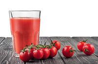 Cherry tomatoes and tomato juice