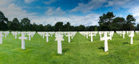 panorama view of headstones in the American Cemetery at Omaha Beach in Normandy