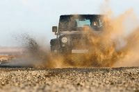 Splashing water with an offroad car