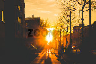 silhouette of people on bicycle and pedestrians on sidewalk during sunset