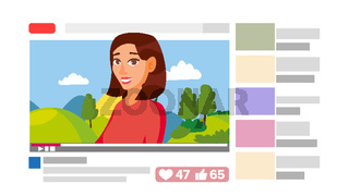 Girl Leading Online Stream Channel. Online Internet Streaming Video Concept. Cartoon Flat Illustration