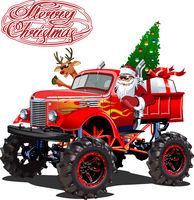 Vector Christmas card with cartoon retro Christmas monstertruck