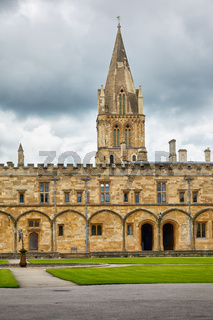 The main tower of Christ Church Cathedral as seen from the Tom Quad. Oxford University. England