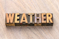 weather word in wood type