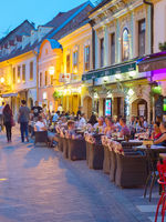Tourist at street restaurants. Zagreb