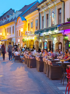 Tourist at street restaurants. Zagreb