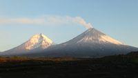 The Kamchatka volcano. Klyuchevskaya hill. The nature of Kamchatka, mountains and volcanoes.