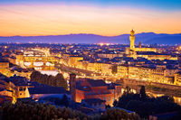 Florence cityscape and landmarks panoramic evening view