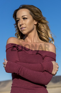 Gorgeous Blonde Model Posing Outdoors In The Desert