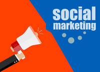 flat design business concept. social marketing. Digital marketing business man holding megaphone for website and promotion banners.