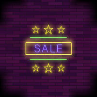 Yellow Neon Sale Sign with Round Frame and Stars