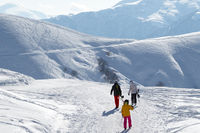 Skiers and snowboarders walk on snowy road at sunny winter morning