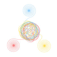 Complicated chaotic clew made of three thin colorful threads isolated on white