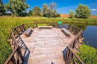 Kopacki Rit marshes nature park bird observation deck and wooden boardwalk