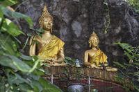 Zwei sitzende Buddha Statuen, Phousi Hill, Luang Prabang, Laos