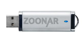 Side view of silver USB memory stick