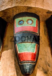 September 14, 2018 - Juneau, Alaska: Detail of cedar carving by Tlingit artist Kaax Tseen, Herb Sheakley Jr, at Mount Roberts Tramway.