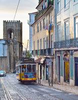 Tram Lisbon ALfama street. Portugal