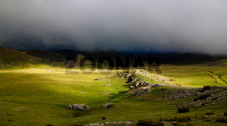 Cloudy Landscape of Mavrovo national park with mountain, FYR Macedonia