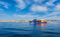 Tourist ferry from Santa Pola to the island of Tabarca. Spain