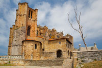 Detail of cathedral and castle and lighthouse, Castro Urdiales, Cantabria, Spain