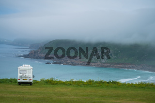 Campervan parked above the Sennen Cove