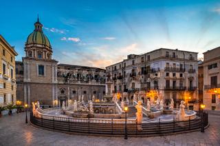 Piazza Pretoria and the Praetorian Fountain in Palermo, Sicily, Italy.