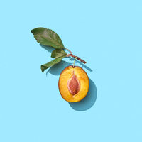 Half a ripe plum with green leaves on a blue background with copy space. Vitamin food. Flat lay