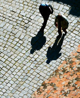 People walking silhouette. Aerial view