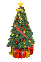 Christmas Decorated tree red gifts isolated.