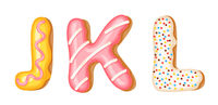 Donut icing upper latters - J, K, L. Font of donuts. Bakery sweet alphabet. Donut alphabet latters A b C isolated on white background