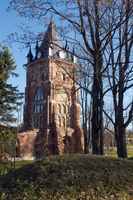 restored ruins of old towers in a suburb of Petersburg