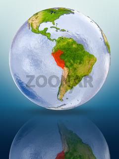 Peru on globe