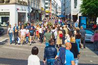 People crossing Copenhagen shopping street