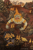 Buried giant in Wat Phra Kaew mural