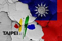 flags of Taipei and Taiwan
