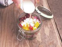 Tasty vegetarian salad in a jar