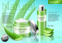 Realistic Aloe vera cosmetics products, bottle with tonic and cream
