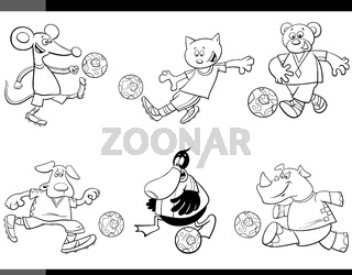 animal soccer players cartoon characters