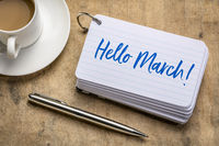 hello march text on index card
