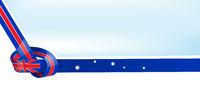 Australian ribbon flag on bue sky background