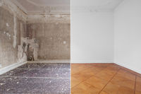 flat renovation concept, empty room before and after refurbishment or restoration , primed and painted wall background -