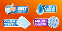 Washing clothes stickers set, stickers - micro cleaning, clear water, best quality, crystal white. Clean laundry, fibers, water drop and thumbs up icons isolated, vector illustration.