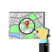 Red Marker Pointer with Road Map. GPS Navigator Location Icon.