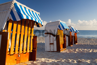 Traditional wooden beach chairs on Rugen island,Germany