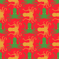 Colorful Octopus Icon Seamless Pattern. Stilized Textured Design. Sea Food Template.